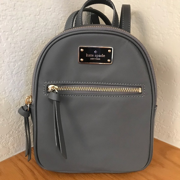 durable in use detailed images brand quality Kate spade mini Bradley Wilson backpack grey bag NWT